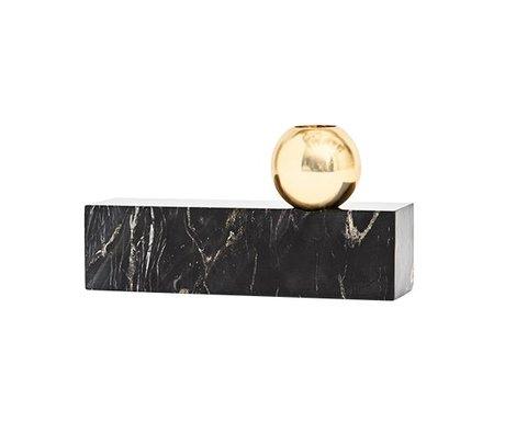 OYOY Kandelaar marble zwart metaal 9,50x17cm