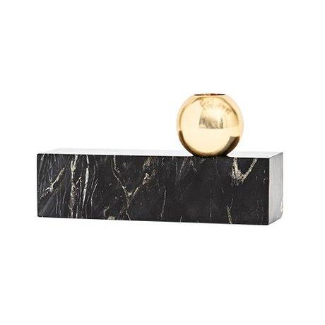 OYOY Kerzenständer aus Marmor schwarz Metall 9,50x17cm