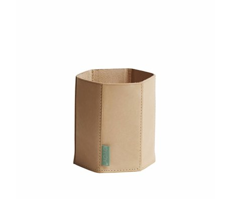 OYOY Stifthalter Hexagon creme / braun Leder 11x12,5cm