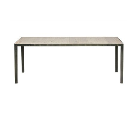 LEF collections Table station de métal bois brun 76,5x198x90cm