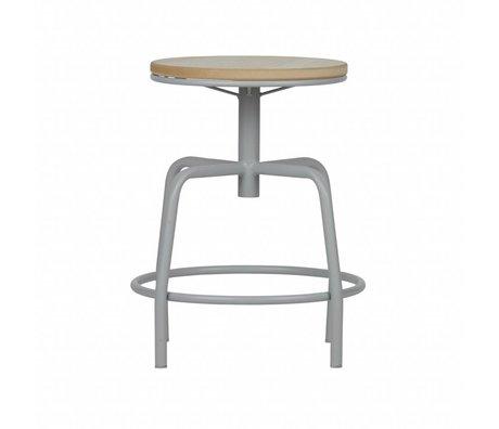 LEF collections Tabouret Emiel beton bois métal gris 48,5x38x38cm