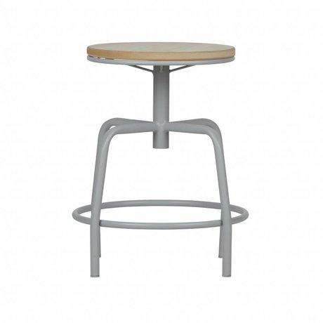 LEF collections Stool Emiel concrete gray metal wood 48,5x38x38cm