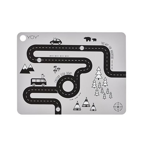 OYOY Placemat Adventure grijs silicone 45x34x0,15cm