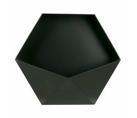 LEF collections Wanddeco Puck XL zwart metaal 39x45x18,5cm