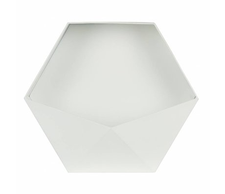 LEF collections Wanddeco Puck XL wit metaal 39x45x18,5cm