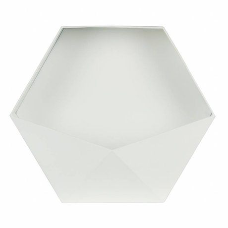 LEF collections Wanddeco Puck XL white metal 39x45x18,5cm