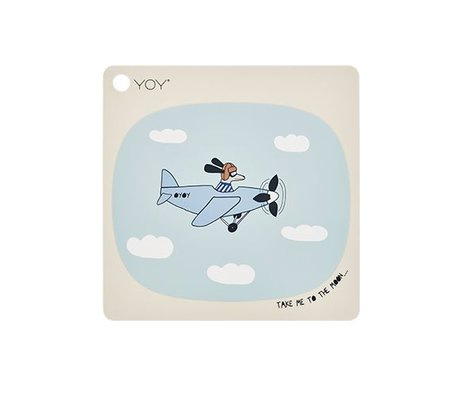 OYOY Placemat Take me to the moon cream silicone 38x38cm