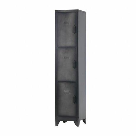 LEF collections Lock case Cas 3 doors black metal 180x38x45,5cm
