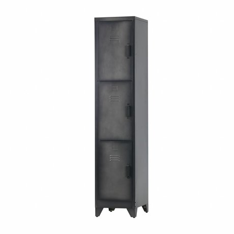 LEF collections Locker Cas 3 Türen schwarz Metall 180x38x45,5cm
