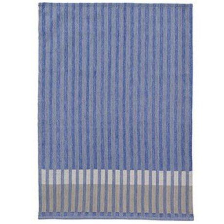 Ferm Living Torchon Jacquard Grain coton bleu 50x70cm