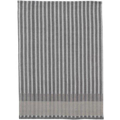 Ferm Living thé grain serviette jacquard coton gris 70x50cm