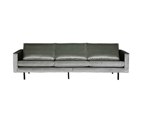 BePureHome Bank Rodeo 3 places mi velours velours gris 85x277x86cm