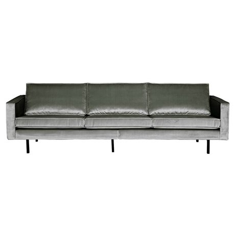 BePureHome Bank Rodeo 3-zits midden grijs fluweel velvet 85x277x86cm