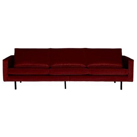 BePureHome Bank Rodeo 3-zits rood fluweel velvet 85x277x86cm