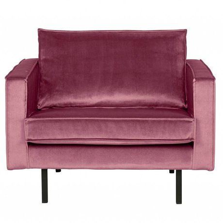 BePureHome Fauteuil velours velours Rodeo rose 105x86x85cm