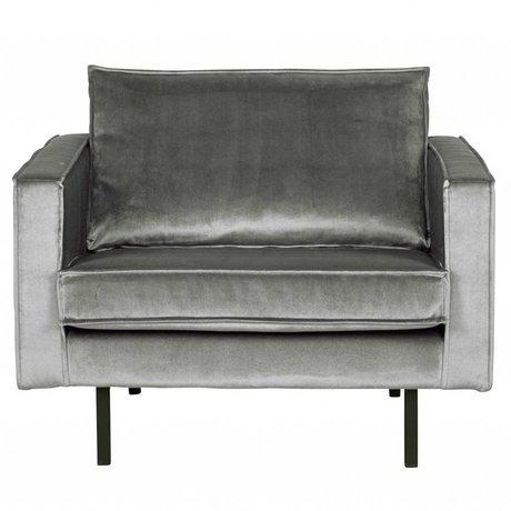 BePureHome Fauteuil Rodeo midden grijs fluweel velvet 105x86x85cm