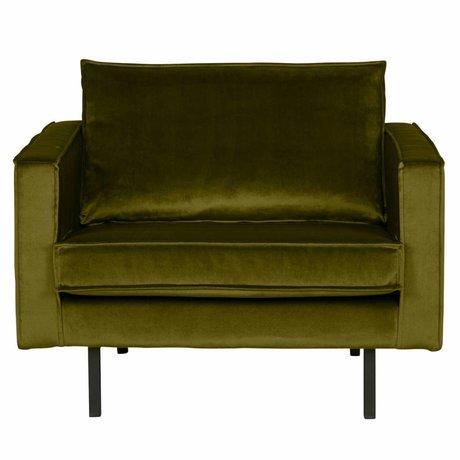 BePureHome Fauteuil Rodeo olijf groen fluweel velvet 105x86x85cm