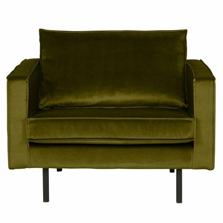 BePureHome Fauteuil velours velours Rodeo vert olive 105x86x85cm