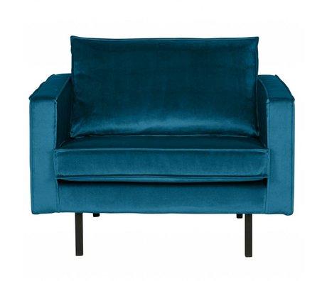 BePureHome Fauteuil Rodeo blauw fluweel velvet 105x86x85cm