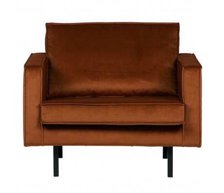 BePureHome Fauteuil Rodeo roest oranje fluweel velvet 105x86x85cm