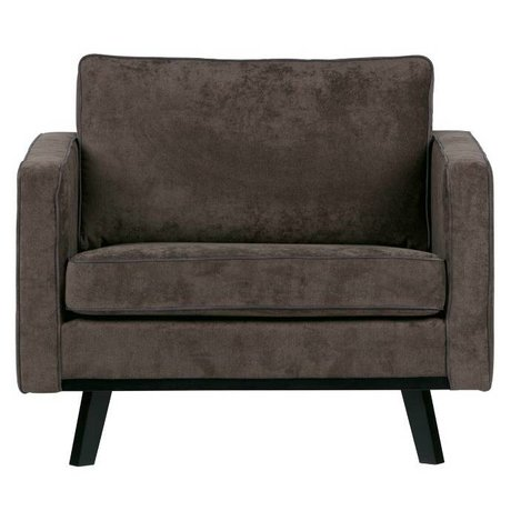 BePureHome Fauteuil Rebel brushed bruin polyester hout 85x105x86cm