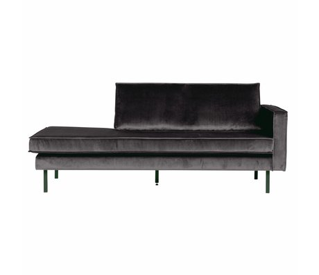 BePureHome Banque Daybed droit velours velours gris anthracite 203x86x85cm