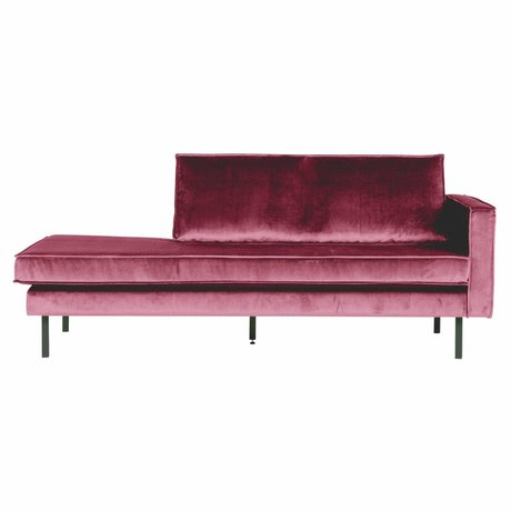 BePureHome Bank Daybed rechts rosa Samt Samt 203x86x85cm