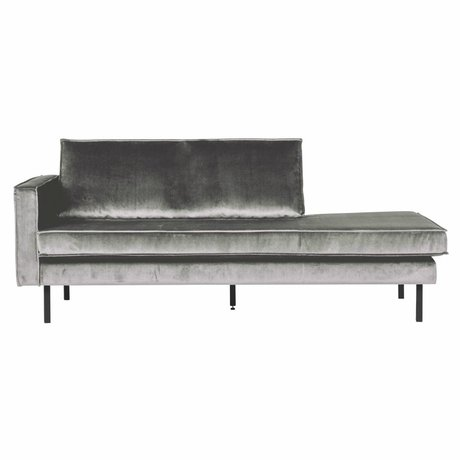 BePureHome Banque Daybed gauche milieu velours velours gris 203x86x85cm