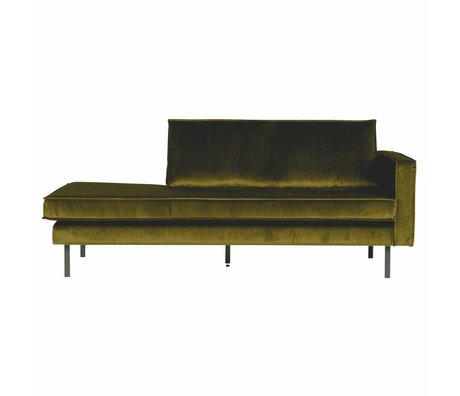 BePureHome Canapé Daybed Rodeo droit velours velours vert olive 203x86x85cm