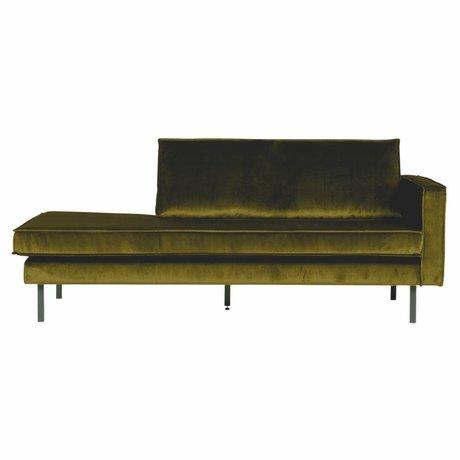 BePureHome Bank Daybed right olive green velvet velvet 203x86x85cm
