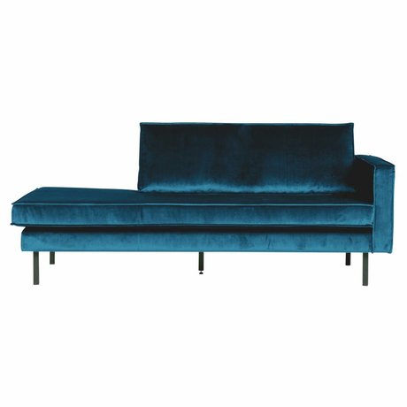 BePureHome Banque Daybed droit velours velours bleu 203x86x85cm
