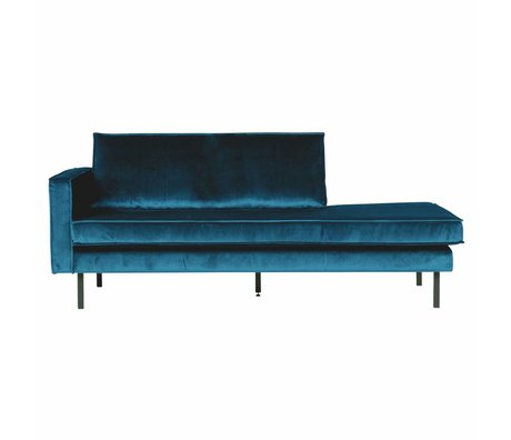 BePureHome Banque Daybed gauche velours velours bleu 203x86x85cm