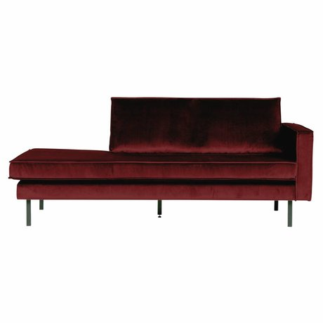 BePureHome Banque Daybed droit velours velours rouge 203x86x85cm