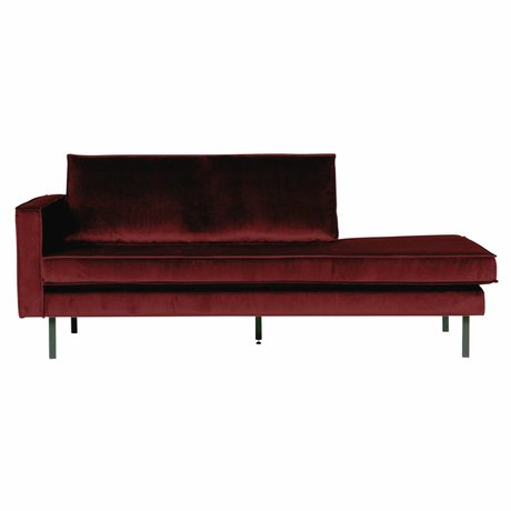 BePureHome Banque velours Daybed velours rouge gauche 203x86x85cm