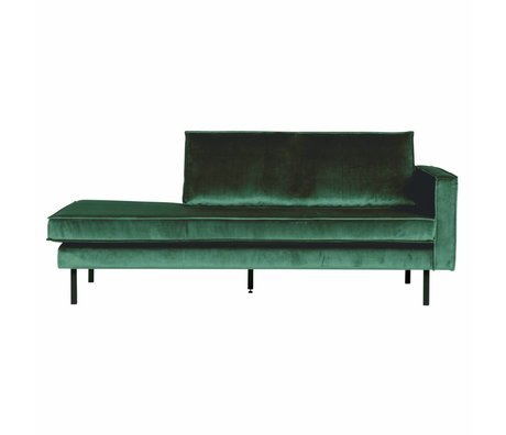 BePureHome Bank Daybed Rodeo droit vert forêt velours velours vert 203x86x85cm