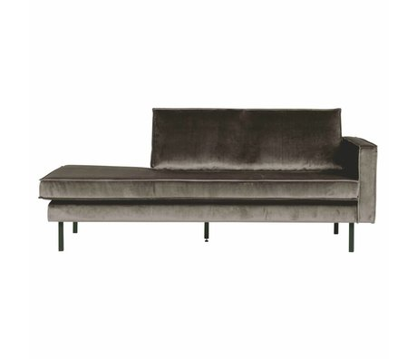 BePureHome Sofa Daybed Rodeo rechts taupe brauner Samt Samt 203x86x85cm