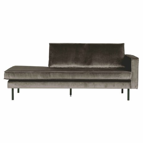 BePureHome Canapé Daybed Rodeo droit velours marron taupe 203x86x85cm