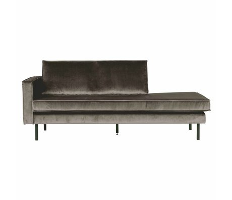 BePureHome Bank Daybed links taupe Samt braunem Samt 203x86x85cm