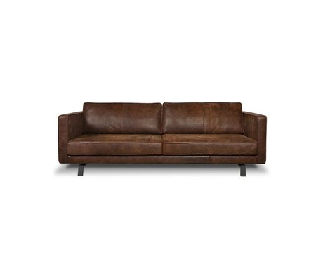 I-Sofa Canapé 3 places Bjorn cognac en cuir brun 202x96x82cm