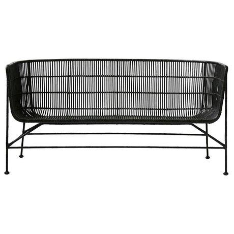 Housedoctor Coon black rattan sofa 65.5x140x70cm