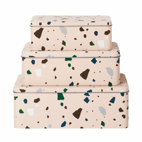Ferm Living Set of 3 metal storage cans Terrazzo pink