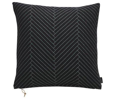 OYOY Fluffy Kissen mit Fischgrätmuster schwarz Baumwolle 50x50