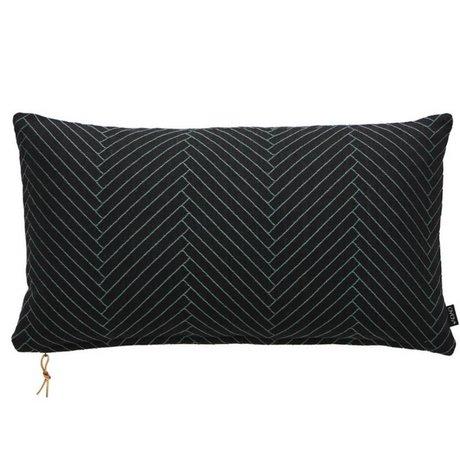 OYOY Fluffy Kissen mit Fischgrätmuster schwarz Baumwolle 40x70cm