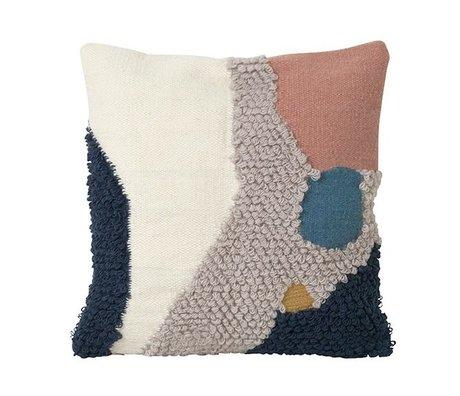 Ferm Living Coussin Marche paysage toile laine multicolore 50x50cm