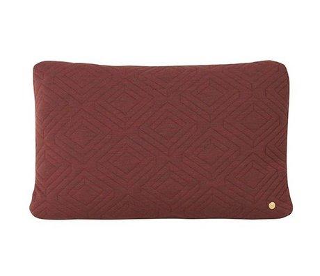 Ferm Living Quilt coussin de laine bordeaux 60x40cm