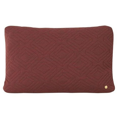 Ferm Living Cushion Quilt Rust burgundy red wool 60x40cm