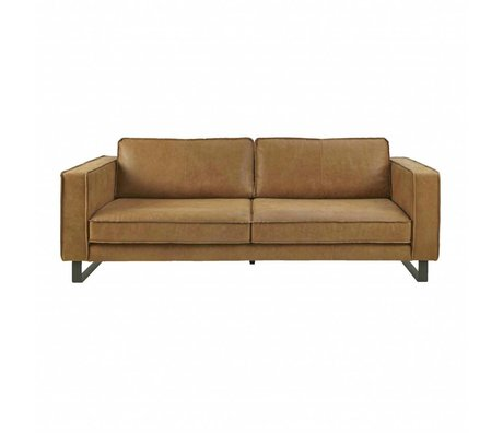 I-Sofa Bank 3,5 zits Harley cognac bruin leer 234x96x82cm
