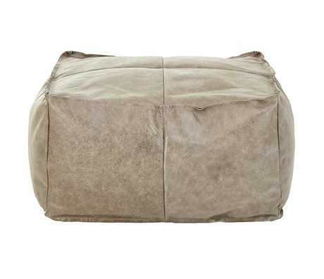 I-Sofa Pouf Harley taupe brown leather 81x81x45cm