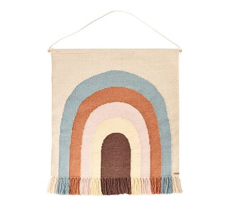 OYOY Tapestry follow the rainbow multicolor cotton / wool 100x115cm