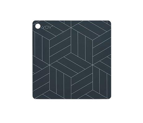 OYOY Napperon gris foncé Mado 38x38x0,15cm silicone
